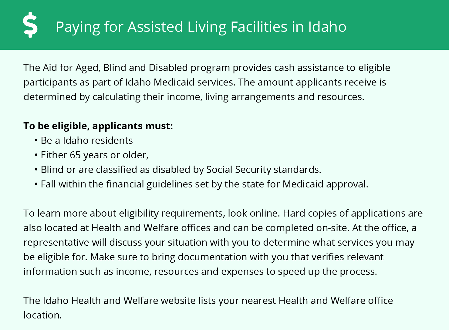 Financial Assistance in Idaho