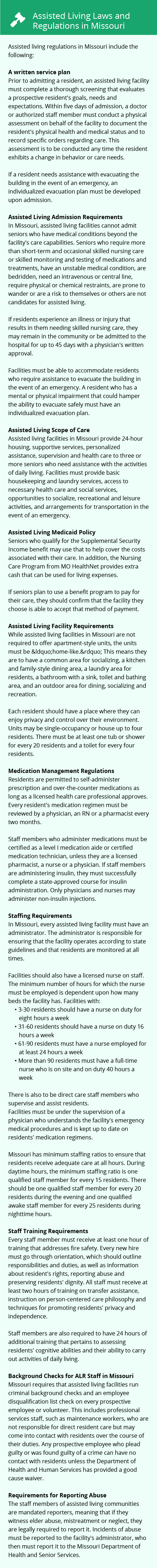Laws and Regulations in Missouri