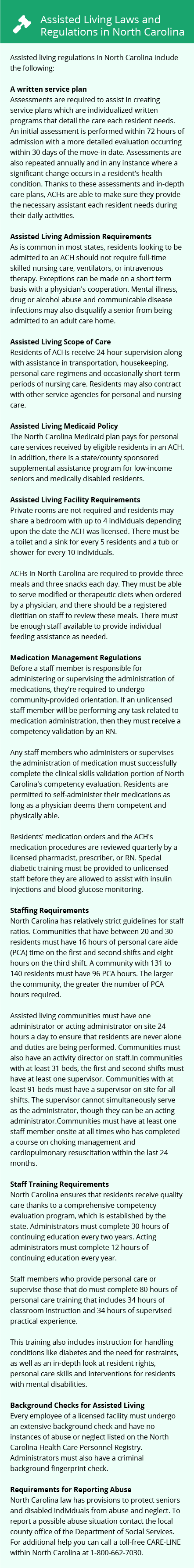 Laws and Regulations in North Carolina