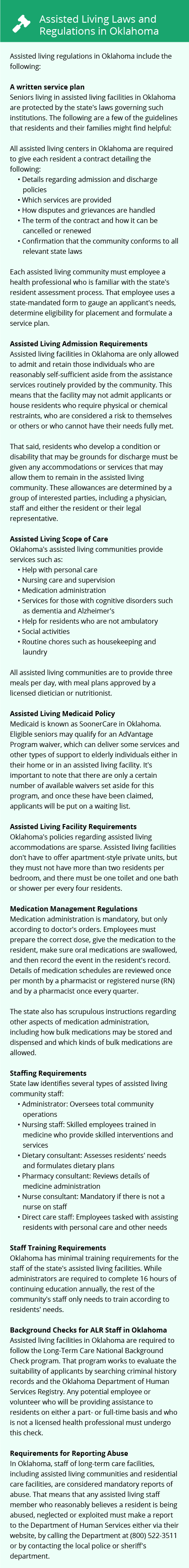 Laws and Regulations in Oklahoma