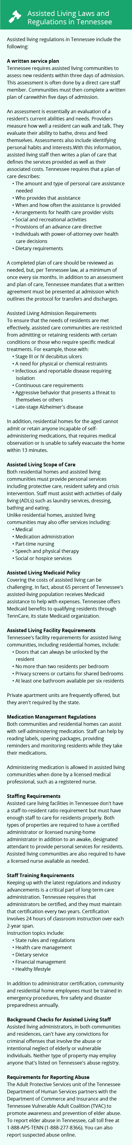Laws and Regulations in Tennessee