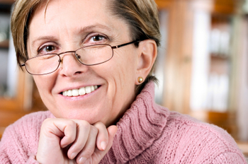 Mature woman smiles