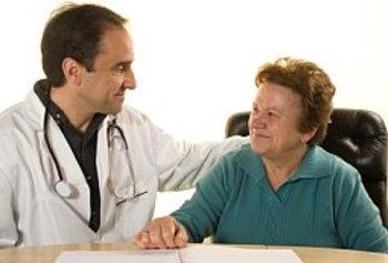 Senior patient at doctor's consultation