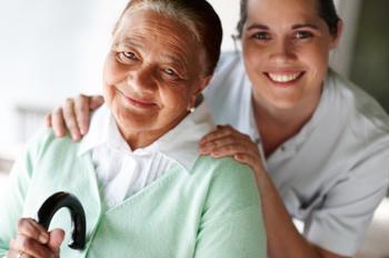 Portrait of a happy nurse and patient