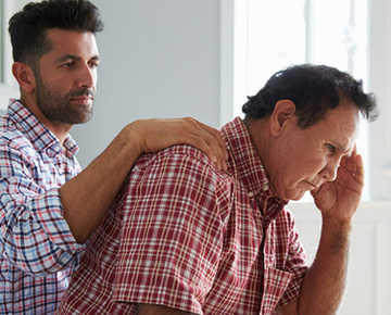 Thinkstockphotos 519664398 son comforting father with%2520dementia