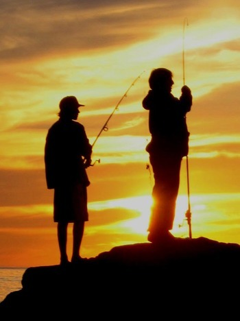 Fishing at Sunset - Pacific Ocean , California
