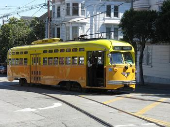 f market street trolley car at 17th and castro stop