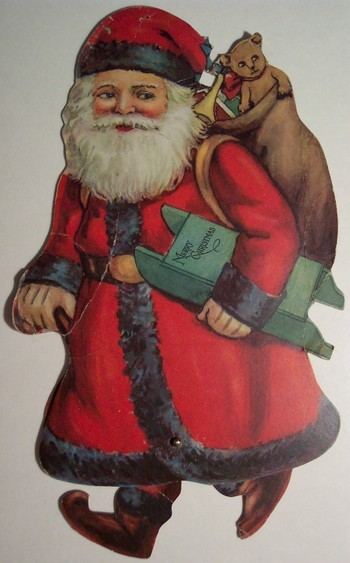 Vintage Christmas Santa Card with moving legs