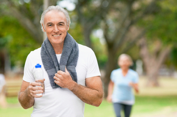 Mature Man Cooling Off After Workout