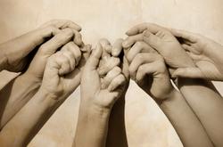 Hands of team