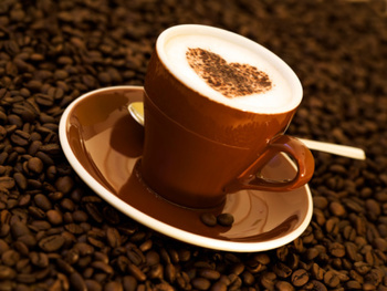 cappuccino decorated with heart shape